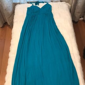 NWT Express Teal Halter Maxi Dress Size Small